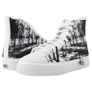 Monochrome Forest Funky High Top Shoes Printed Shoes