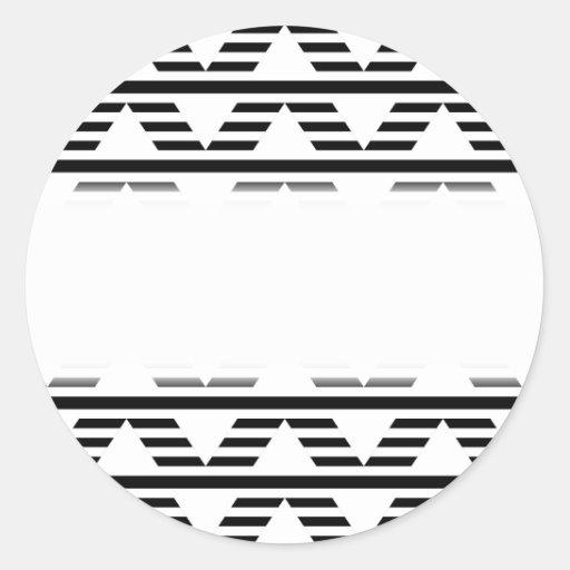 Monochrome Geometric Design. Pattern. Round Stickers