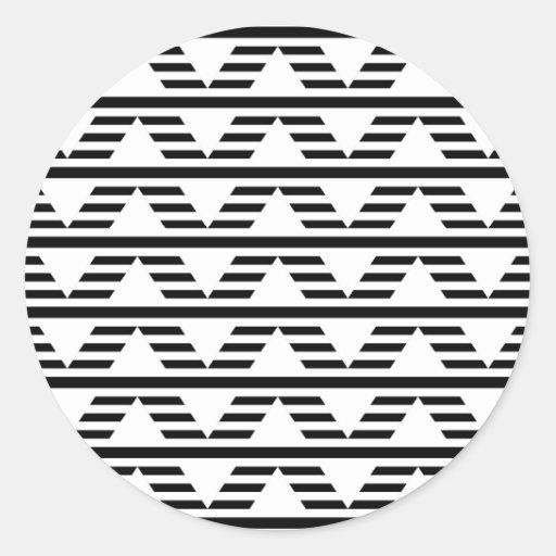 Monochrome Geometric Design. Pattern. Round Sticker