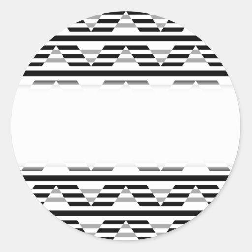 Monochrome Geometric Pattern. Round Stickers