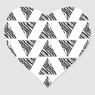 Monochrome Geometric Pattern with Zebra Stripes Heart Sticker