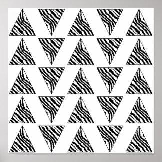 Monochrome Geometric Pattern with Zebra Stripes Posters