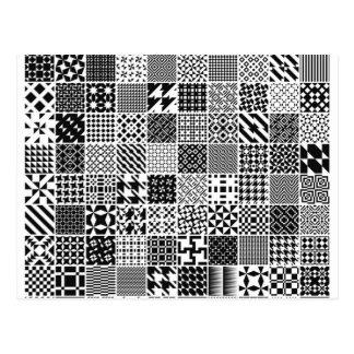 Monochrome Geometric Patterns postcard