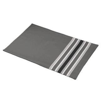 Monochrome Grey Stripes American MoJo Placemat