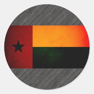 Monochrome Guinea-Bissau Flag Round Stickers