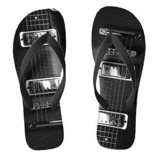 Monochrome Guitar Photograph On Flip flops