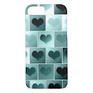 Monochrome hearts pattern iPhone 7 case
