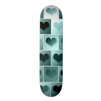 Monochrome hearts pattern skate deck