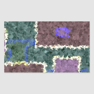 Monochrome in Green, Mauve & Cream Rectangular Sticker