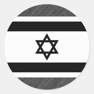 Monochrome Israel Flag Round Sticker