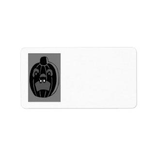 Monochrome Jack O Lantern Pumpkin Address Label