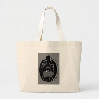 Monochrome Jack O Lantern Pumpkin Canvas Bags