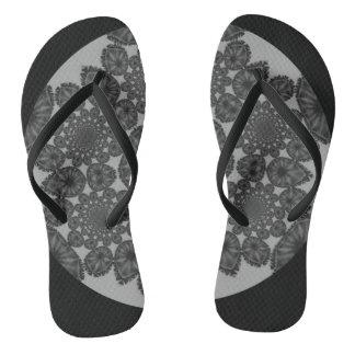 Monochrome Kaleidoscope Flip Flops Thongs