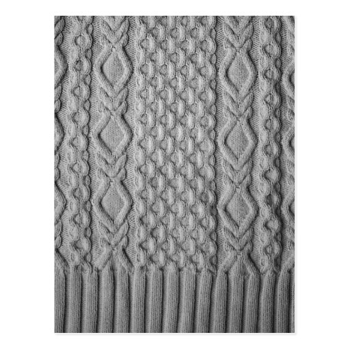 Monochrome knitted cables post cards