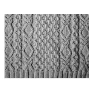 Monochrome knitted cables post card