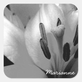 Monochrome Lily Abstract Bold Stamen Square Sticker