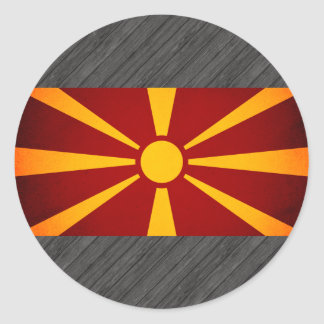 Monochrome Macedonia Flag Round Stickers