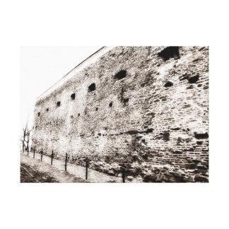 Monochrome Medieval Fortress Brick Wall Canvas Print
