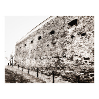 Monochrome Medieval Fortress Brick Wall Photo Print