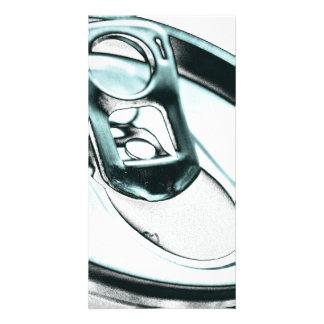 Monochrome Metalic Blue Opened Beverage Can Top Custom Photo Card