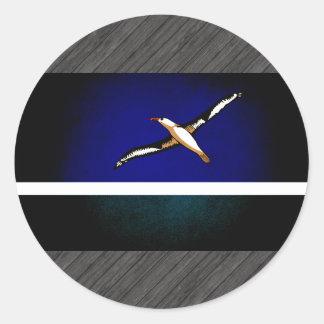 Monochrome Midway Islands Flag Round Sticker
