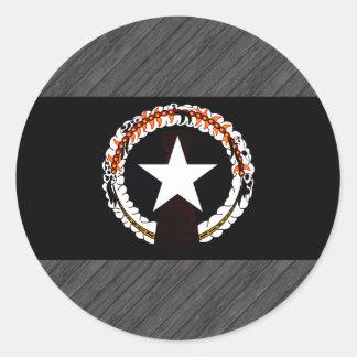 Monochrome Northern Mariana Islands Flag Round Stickers