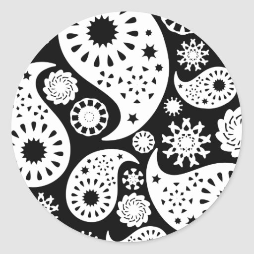 Monochrome Paisley Pattern Design. Stickers