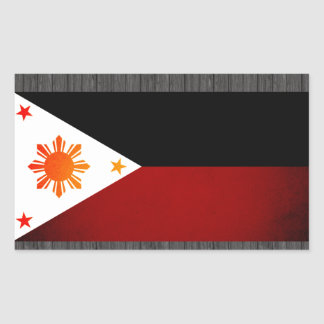 Monochrome Philippines Flag Rectangle Sticker