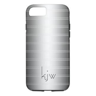 Monochrome Pin Stripe Initials iPhone 7 Case