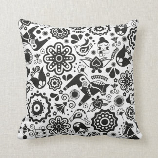 Monochrome Scandinavian folk art Cushion