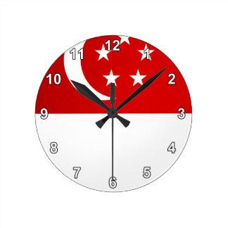 Monochrome Singapore Flag Round Clock
