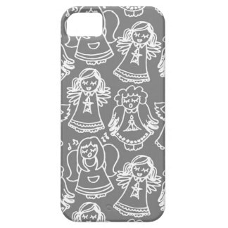 monochrome singing angels on gray background iPhone 5 covers