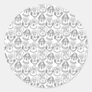 monochrome singing angels on white background round sticker