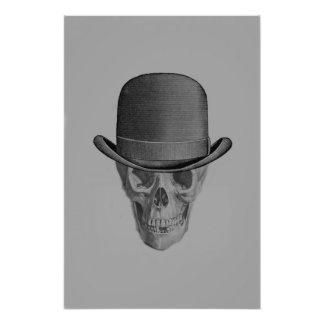 Monochrome Skull Derby Hat Photographic Print