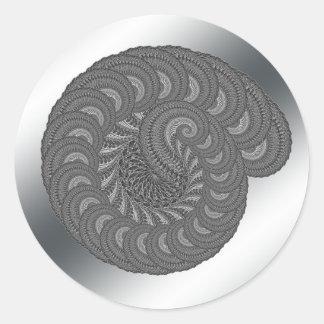 Monochrome Spiral Graphic. Round Stickers
