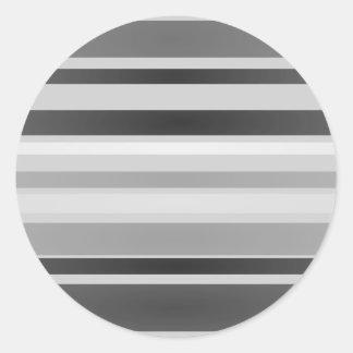 Monochrome Stripes Art Round Sticker
