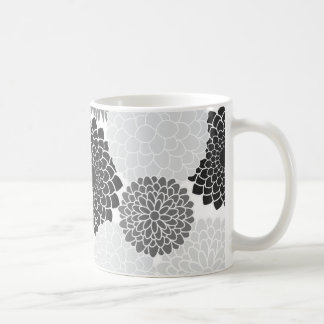 Monochrome Summer Flowers Pattern Coffee Mugs