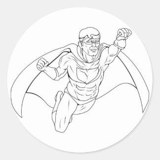 Monochrome Superhero Illustration Round Sticker