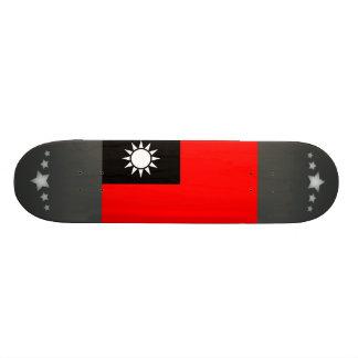 Monochrome Taiwan Flag Skateboard Deck
