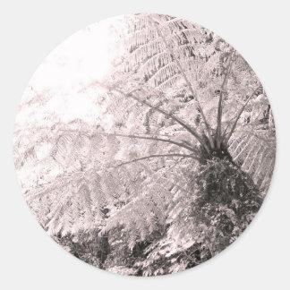 Monochrome Tree Fern Round Sticker