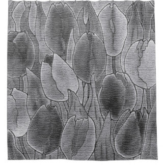 Monochrome Tulips Design Shower Curtain