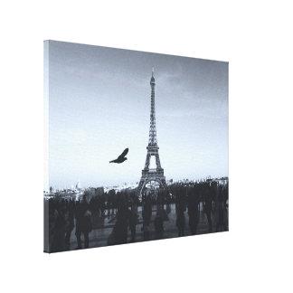 Monochrome view of Eiffel Tower, Paris, France… Canvas Print