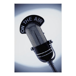 Monochrome Vintage On The Air Microphone Print