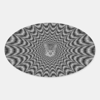 Monochrome Web + Cat Oval Sticker