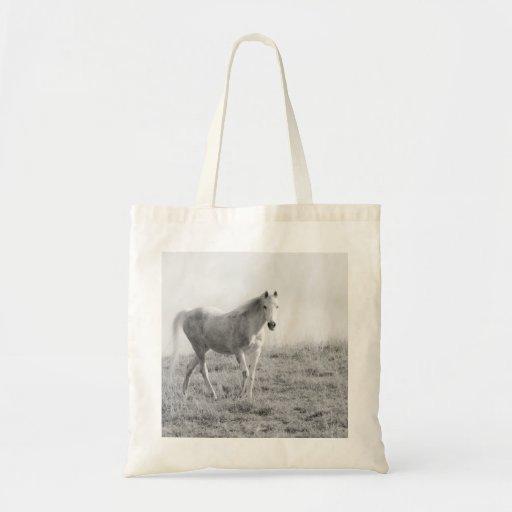 Monochrome white horse canvas bag