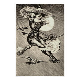 Monochrome Witch Flying Broom Bat Full Moon Posters
