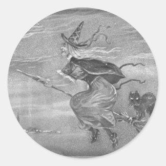 Monochrome Witch on Broom Classic Round Sticker