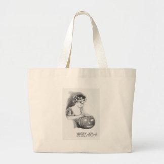 Monochrome Woman Jack O Lantern Pumpkin Jumbo Tote Bag