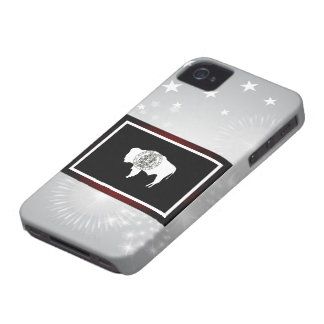 Monochrome Wyoming Flag iPhone 4 Case
