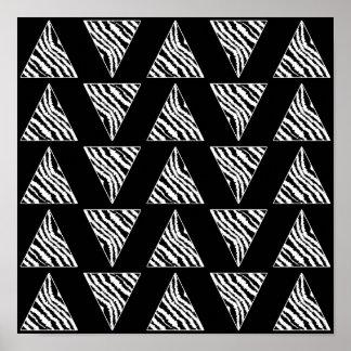 Monochrome Zebra Stripe Triangles on Black. Print
